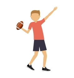 Male athlete practicing american football isolated vector