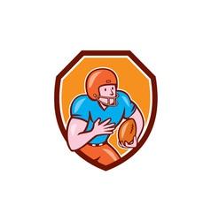American football receiver running ball shield vector