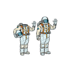 Astronaut in spacesuit and mockup without a head vector