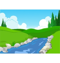 beauty lake with landscape background vector image vector image