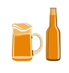Beer glass and bottle isolated vector image vector image