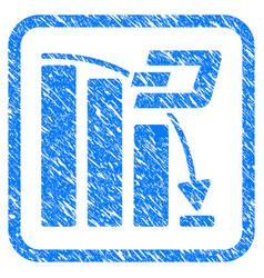 Dash falling acceleration chart framed stamp vector