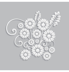 Flowers and floral elements cut from paper vector image vector image