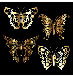 Four golden butterfly vector