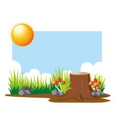 Garden scene at daytime vector