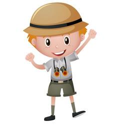 little boy in safari costume vector image
