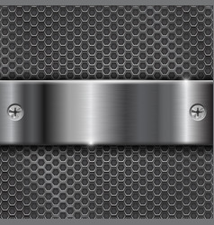 metal perforated background with stainless steel vector image vector image