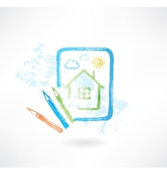 painted house grunge icon vector image vector image