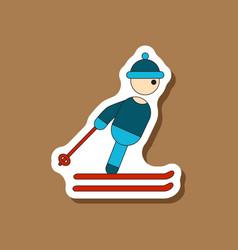 Paper sticker on stylish background skier vector
