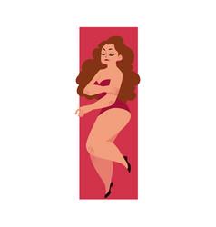 plump plus size caucasian curvy woman girl in vector image