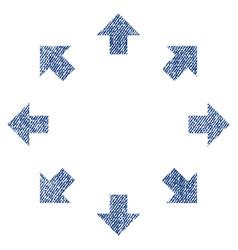 radial arrows fabric textured icon vector image vector image