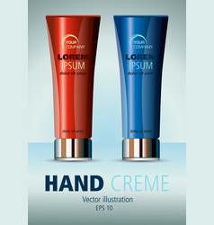 Realistic red and blue cosmetic creme vector