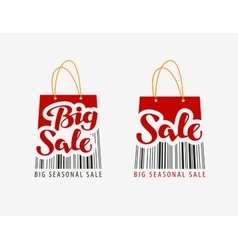 Sale shopping bag with bar code vector