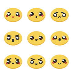 Set collection of kawaii japanese emoticons vector