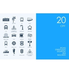 Set of blue hamster library city icons vector