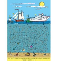 Ships Maze Game vector image