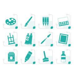 Stylized painter drawing and painting icons vector