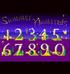 Summer numbers yellow houses on the night beach vector