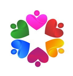 Teamwork voluntary hearts logo vector