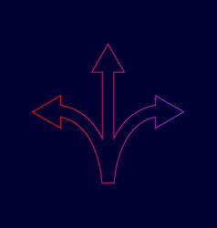 Three-way direction arrow sign line icon vector