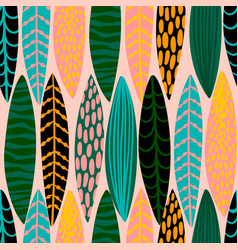 Tribal seamless pattern with abstract leaves hand vector