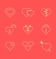 Various red color outline heart icons set vector