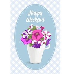 Vintage card romantic flowers in cup vector