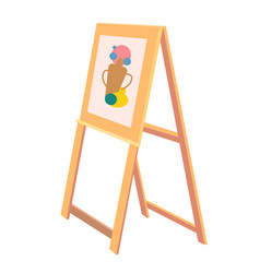 wooden easel with sketch of vase painted icon vector image