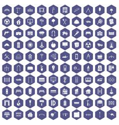 100 architecture icons hexagon purple vector