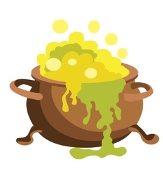 Witch bucket of boiling green liquid magic potion vector