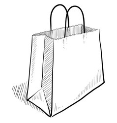 doodle shopping bag vector image