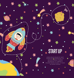 Start up space cartoon web page template vector