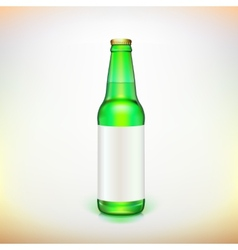 Glass beer green bottle and label product packing vector