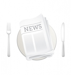 Newspaper and cutlery icon vector