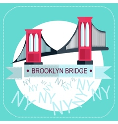 Brooklyn bridge new york icon flat vector