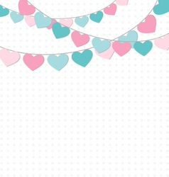 Hearts buntings garlands on white vector