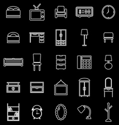 Bedroom line icons on black background vector