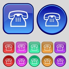 Retro telephone handset icon sign a set of twelve vector