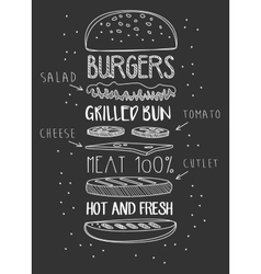 Chalk drawn components of classic cheeseburger vector