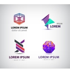 set of abstract logos icons isolated vector image