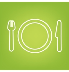 Fork line icon on green background vector