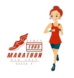 Marathon running woman cartoon vector