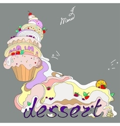 Fantastic cakes with dessert vector