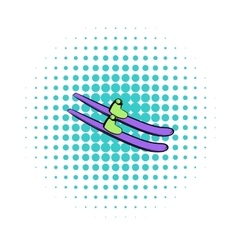 Water skiing icon comics style vector