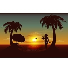 Evening sunset on tropical island sea palm trees vector