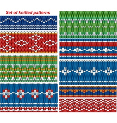 Set of 9 knitted ornamental seamless patterns vector