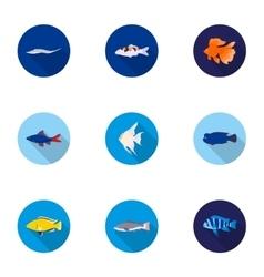 Aquarium fish set icons in flat style Big vector image