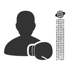 Boxing sportsman icon with work bonus vector