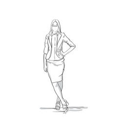 business woman silhouette full length female vector image