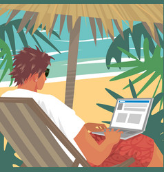 busy man working on laptop on tropical beach vector image vector image